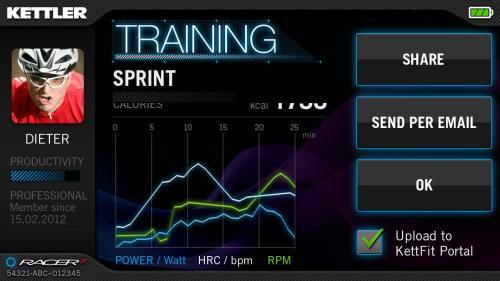 application SFIT rameur kettler coach S mode training