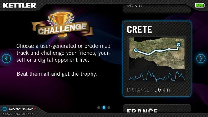 application SFIT rameur kettler coach S mode challenge